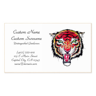 Cool cartoon tattoo symbol angry feral tiger Double-Sided standard business cards (Pack of 100)