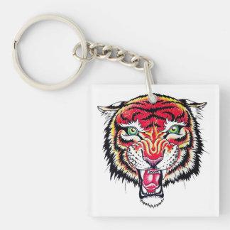 Cool cartoon tattoo symbol angry feral tiger keychain