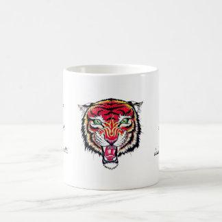 Cool cartoon tattoo symbol angry feral tiger mug