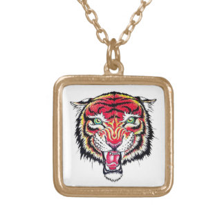 Cool cartoon tattoo symbol angry feral tiger square pendant necklace