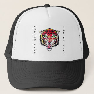 Cool cartoon tattoo symbol angry feral tiger trucker hat