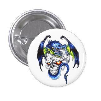 Cool cartoon tattoo symbol Blue Dragon Skull Button
