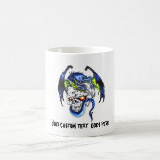 Cool cartoon tattoo symbol Blue Dragon Skull Coffee Mug
