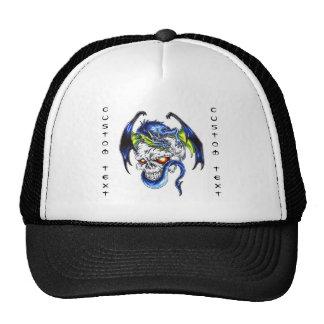 Cool cartoon tattoo symbol Blue Dragon Skull Trucker Hat