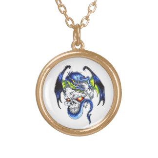 Cool cartoon tattoo symbol Blue Dragon Skull Round Pendant Necklace
