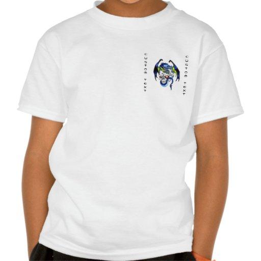 Cool cartoon tattoo symbol Blue Dragon Skull T-shirt