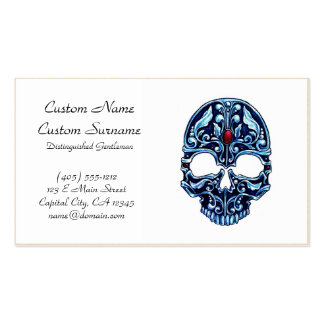 Cool cartoon tattoo symbol blue metal gothic skull Double-Sided standard business cards (Pack of 100)