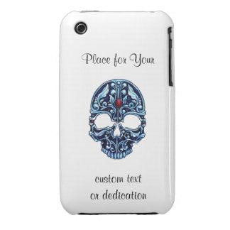 Cool cartoon tattoo symbol blue metal gothic skull iPhone 3 case