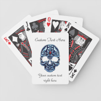 Cool cartoon tattoo symbol blue metal gothic skull playing cards