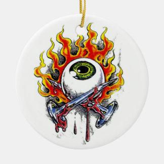 Cool cartoon tattoo symbol burning eyeball  pins ceramic ornament
