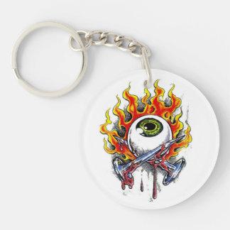 Cool cartoon tattoo symbol burning eyeball  pins keychain
