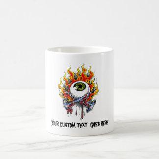 Cool cartoon tattoo symbol burning eyeball  pins mugs