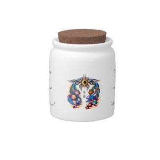 Cool cartoon tattoo symbol chinese dragon orbs candy jar