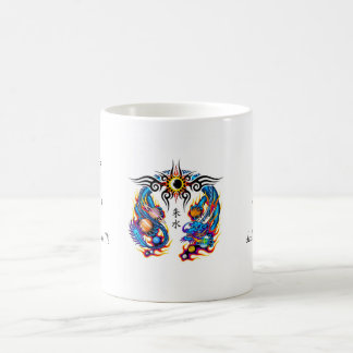 Cool cartoon tattoo symbol chinese dragon orbs coffee mug