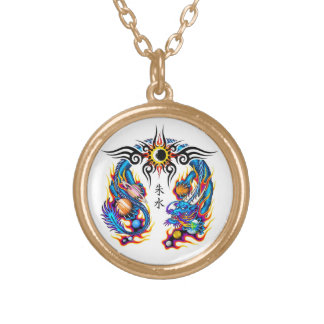 Cool cartoon tattoo symbol chinese dragon orbs gold plated necklace
