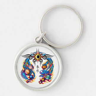 Cool cartoon tattoo symbol chinese dragon orbs keychain
