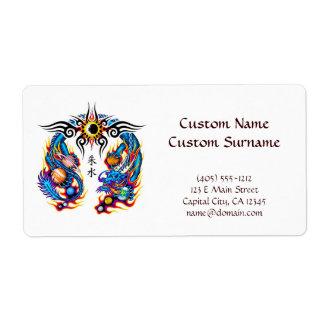 Cool cartoon tattoo symbol chinese dragon orbs label