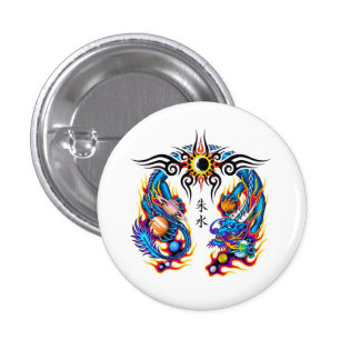 Cool cartoon tattoo symbol chinese dragon orbs pinback button