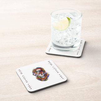 Cool cartoon tattoo symbol chinese dragon skulls beverage coaster