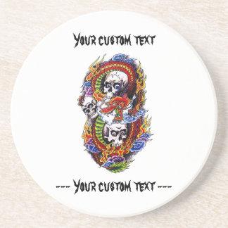 Cool cartoon tattoo symbol chinese dragon skulls coaster