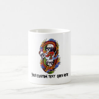 Cool cartoon tattoo symbol chinese dragon skulls coffee mug