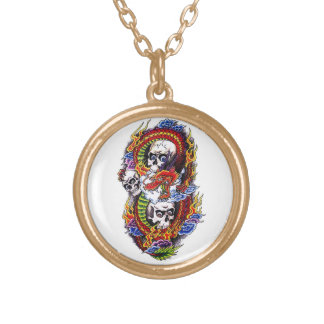 Cool cartoon tattoo symbol chinese dragon skulls gold plated necklace