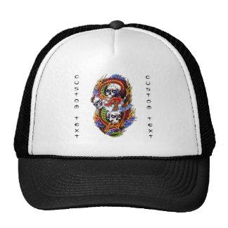 Cool cartoon tattoo symbol chinese dragon skulls trucker hat