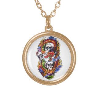 Cool cartoon tattoo symbol chinese dragon skulls round pendant necklace