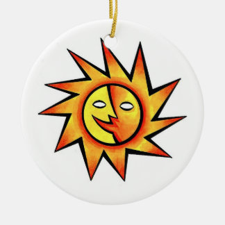 Cool cartoon tattoo symbol comic  Sun Face Ceramic Ornament