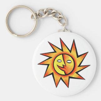 Cool cartoon tattoo symbol comic  Sun Face Keychain