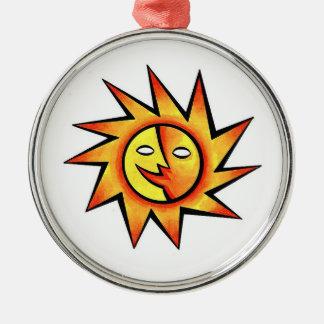 Cool cartoon tattoo symbol comic  Sun Face Metal Ornament