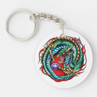 Cool cartoon tattoo symbol Dragon and Orb Keychain