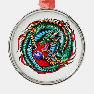 Cool cartoon tattoo symbol Dragon and Orb Metal Ornament
