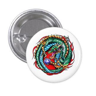 Cool cartoon tattoo symbol Dragon and Orb Pinback Button