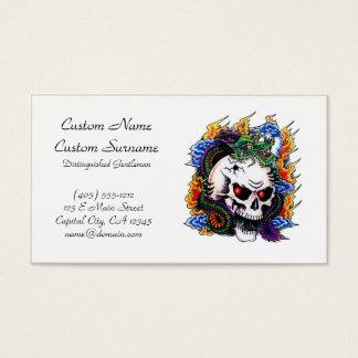 Cool cartoon tattoo symbol dragon skull flames business card