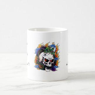 Cool cartoon tattoo symbol dragon skull flames coffee mug