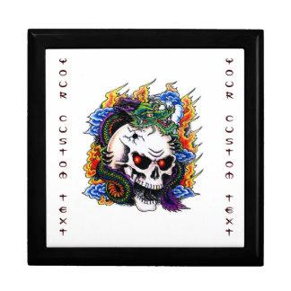 Cool cartoon tattoo symbol dragon skull flames keepsake box
