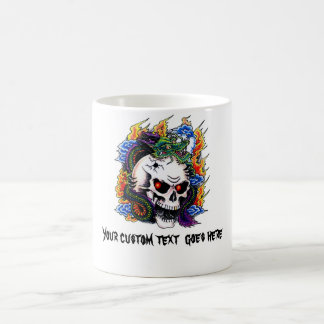 Cool cartoon tattoo symbol dragon skull flames mug