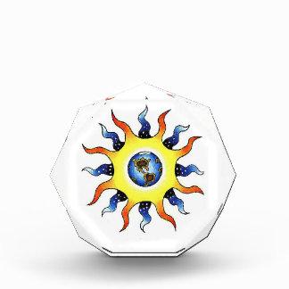 Cool cartoon tattoo symbol Earth Sun Acrylic Award