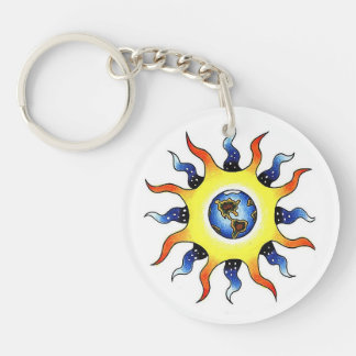 Cool cartoon tattoo symbol Earth Sun Keychain