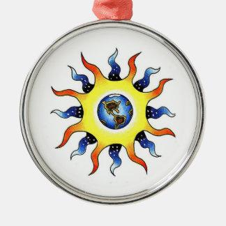 Cool cartoon tattoo symbol Earth Sun Metal Ornament