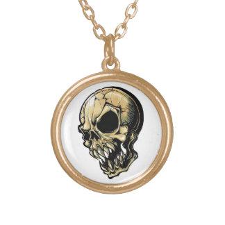 Cool cartoon tattoo symbol evil ink skull round pendant necklace