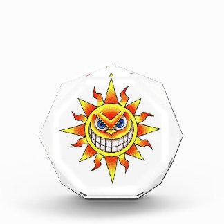 Cool cartoon tattoo symbol evil smiling SUN face Award