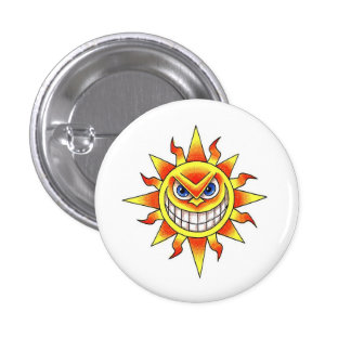 Cool cartoon tattoo symbol evil smiling SUN face Button