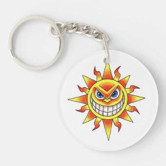 Cool cartoon tattoo symbol evil smiling SUN face Keychain