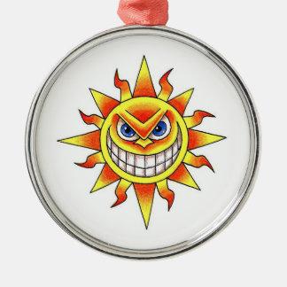 Cool cartoon tattoo symbol evil smiling SUN face Christmas Ornament