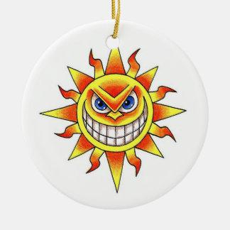 Cool cartoon tattoo symbol evil smiling SUN face Ornament
