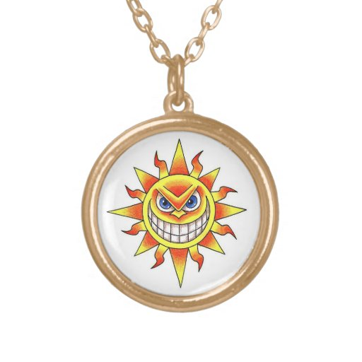cool cartoon tattoo symbol evil smiling sun face round pendant necklace zazzle. Black Bedroom Furniture Sets. Home Design Ideas