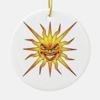 Cool cartoon tattoo symbol evil Sun face Christmas Tree Ornament