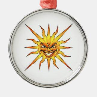 Cool cartoon tattoo symbol evil Sun face Ornaments